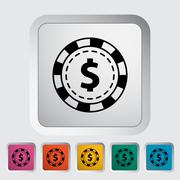 Gambling chips icon - stock illustration