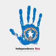 Handprint with the Flag of Northern Mariana Islands in grunge style - stock illustration