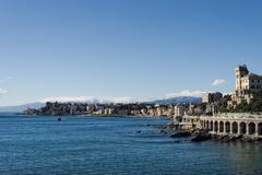 Genoa coastal houses cityscape panorama on sunny winter day Stock Photos