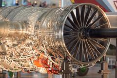 Airplane Jet gas turbine engine detail Stock Photos