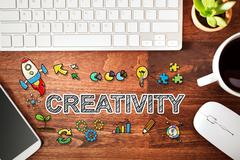 Creativity concept with workstation Stock Photos