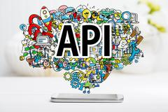 API concept with smartphone Stock Photos