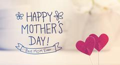 Mothers Day message with small red hearts Stock Photos