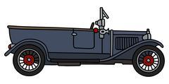 Vintage dark convertible - stock illustration