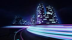 Cityscape and race track with colorful light lines Stock Illustration
