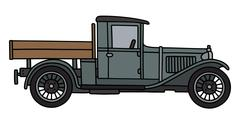 Vintage gray lorry - stock illustration