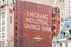 NEW YORK, USA - DECEMBER, 8 - 2012 - old emigrant industrial savings bank sig - stock photo