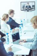 Management of company during business consultation online with boss - stock photo
