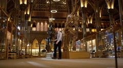 4K Night in the museum - Funny security guard dancing after visitors leave Stock Footage