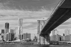 New York Manhattan view in black and white from East River Stock Photos