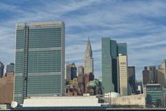 NEW YORK  view from river with United Nation and chrysler  tower - stock photo