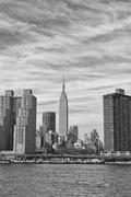 New York Manhattan view in black and white from East River - stock photo