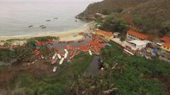 Aerial view of Chuao Bay or Chuao, Aragua State, Venezuela in the Caribbean sea Stock Footage