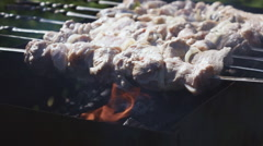 Fry Shish Kebab On The Brazier Stock Footage