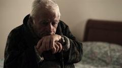Detail of sick depressed old man in nurse home Stock Footage