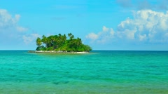Tiny Tropical Island in Thailand against a Bold, Blue Horizon. Video FullHD Stock Footage