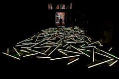 VENICE, ITALY - SEPTEMBER 4, 2013 - lights on Venice biennal art neon install Stock Photos