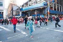 NEW YORK, USA - DECEMBER 10, 2011 - Town people deressed as santa claus celeb - stock photo