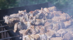 Cook Shish Kebab On The Brazier Stock Footage