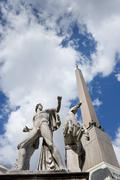 Rome Medieval Statue with obelisk - stock photo
