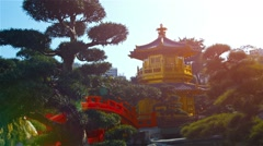 Pagoda and Bridge in Gardens of Chi Lin Nunnery in Hong Kong. Video FullHD Stock Footage