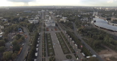 Vertical panorama of entertainment district of VDNKH Stock Footage