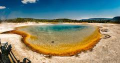 Yellowstone heat pool near Geyser Old Faithful landscape Stock Photos