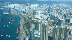 Highrise Architecture of Hong Kong from atop Sky 100 Observation Deck Stock Footage