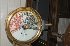 Old italian ship speed control command detail - stock photo