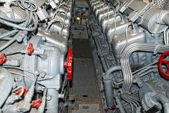 Submarine diesel engines close up detail Stock Photos