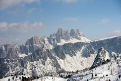dolomites mountain snow panorama in winter - stock photo