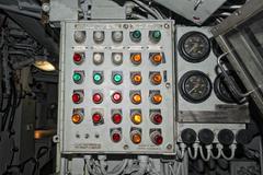 Submarine old control panel detail Stock Photos