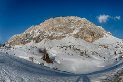 Dolomites huge panorama view in winter snow time Stock Photos