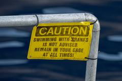 Caution swiimming with sharks is not advised remain in your cage at all time  Stock Photos