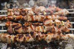 The shish kebabs prepared on a brazier - stock photo