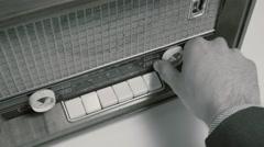 4K Tuning an Old Radio Black & White - stock footage