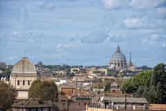 Rome view with saint peter vatican dome - stock photo