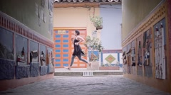 Colorful alleys on Colombian City Stock Footage