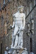 Florence Piazza della Signoria Statue view cityscape - stock photo