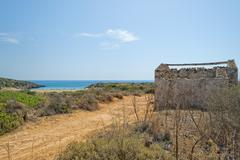 abandoned house near the beach in Sicily, Italy - stock photo