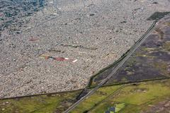 Mexico city aerial view landscape from airplane Stock Photos