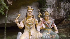 Outdoor Religious Sculpture Featuring Hindu Deities in Langkawi, Malaysia Stock Footage