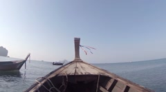 Riding a Traditional Longtail Boat in Thailand. Video FullHD Stock Footage