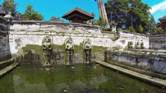 Ancient Fountains at Tirta Empul Hindu Temple in Bali, with Sound Stock Footage