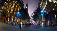 Sydney Christmas in Martin Place, with lightning in the night sky. Time Lapse. Stock Footage