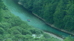 People in a rafting boat on the river Tara, Montenegro - stock footage