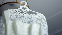 The perfect wedding dress on a hanger - stock footage