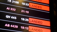 Flight delayed on information board in airport terminal, selective focus. - stock footage
