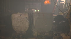 Two Trailers For Trucks Are in the Darkness of the Tunnel. Underground Stock Footage