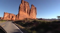 The Organ and Tower of Babel,Driving in Arches National Park Stock Footage